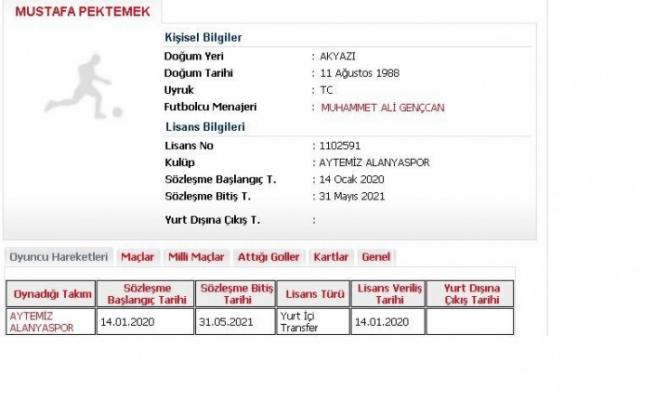 Alanyaspor, Kasımpaşa'dan kadrosuna kattığı Mustafa Pektemek'in lisansını çıkardı.