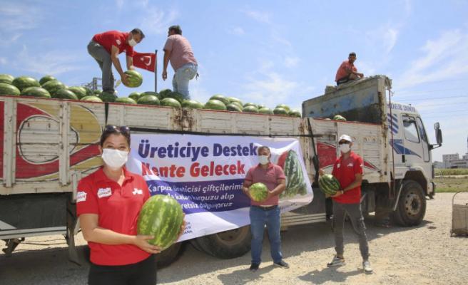 Adana'da vatandaşa ücretsiz karpuz