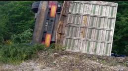 Virajı alamayan kamyon şarampole yuvarlandı