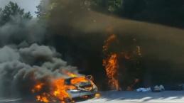 Bursa'da otomobil yandı alevler ormana sıçradı