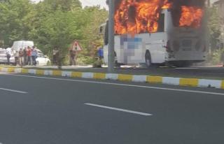 Balıkesir'de Şehirlerarası otobüs alev alev...