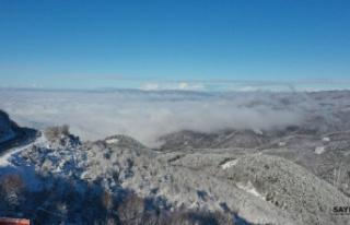Karla kaplı Bolu Dağı'nın havadan görüntüsü...