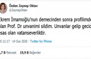 Prof. Dr. Özden Zeynep Oktav, İmamoğlu'na tepki