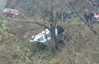 Ağaca takılan araç uçuruma yuvarlanmaktan kurtuldu: 2 yaralı