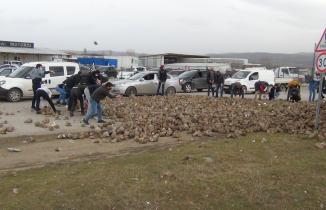 Pancar yüklü tır kaza yaptı karayolu pancarla kaplandı